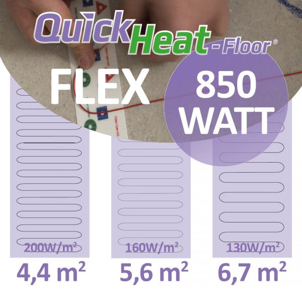 Quickheat-floor flex elektrische vloerverwarming 850W